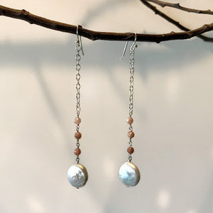 Full Moon Drop Earring with Pearl pendant