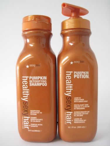 Healthy Sexy Hair Pumpkin Detoxifying Shampoo and pumpkin potion 10 oz 300 ml