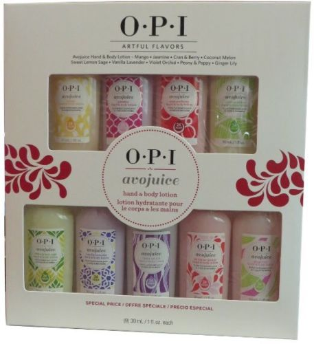 OPI Avojuice ARTFUL FLAVORS 9pc Travel Size Lotion Gift Set ~ 24-hr moisture NIB