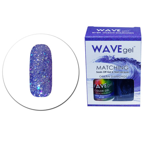 Wave Gel Matching Soak Off Gel Polish OCEAN DIAMONDS W184 (W184)