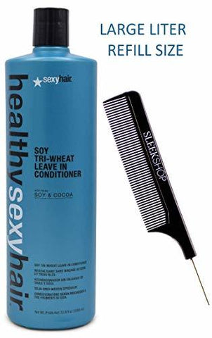 HEALTHY SEXY HAIR TRI-WHEAT LEAVE-IN CONDITIONER, 90% BETTER DETANGLING! W/ COMB - 33.8 OZ / XXL LITER REFILL SIZE