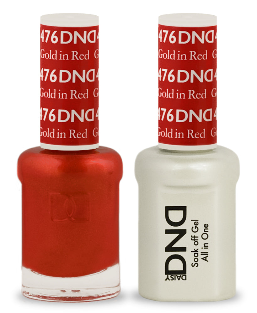 DND Gel & Lacquer 476  Gold In Red