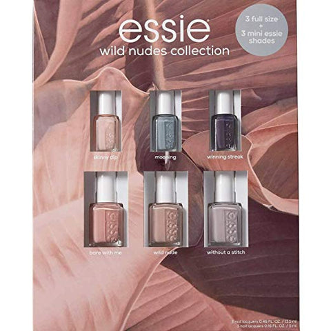 Essie Wild Nudes Collection 6 Pcs Incl. 3X 0.46 fl.oz. Full Size + 3 X 0.16 fl.oz Mini Essie Shades USA Nail Salon Laquers