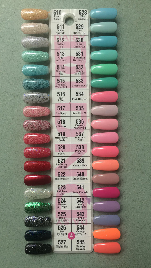 DND Daisy Gel Polish Color Sample Chart Palette Display