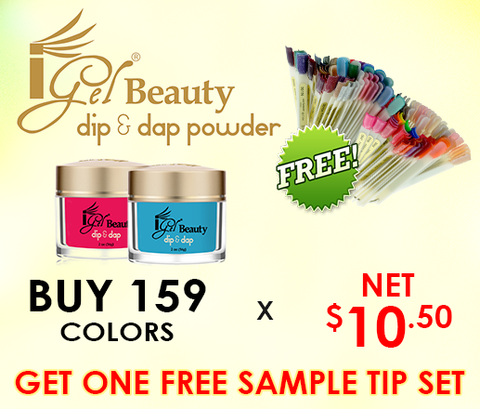 IGEL DIP & DAP POWDER 2 OZ - COMPLETE SET - 159 COLORS (#DD01-#DD159) - GET FREE 1 SAMPLE TIP SET  p1