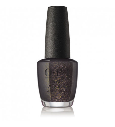 OPI - XOXO Holiday Top the Package with a Beau (Charcoal-black with gold flakes)J11