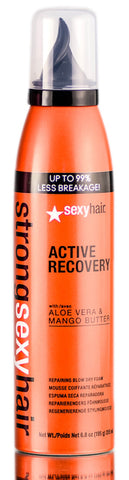 STRONG SEXY HAIR ACTIVE RECOVERY REPAIRING BLOW DRY FOAM, UP TO 99% LESS BREAKAGE! WITH ALOE VERA & MANGE BUTTER