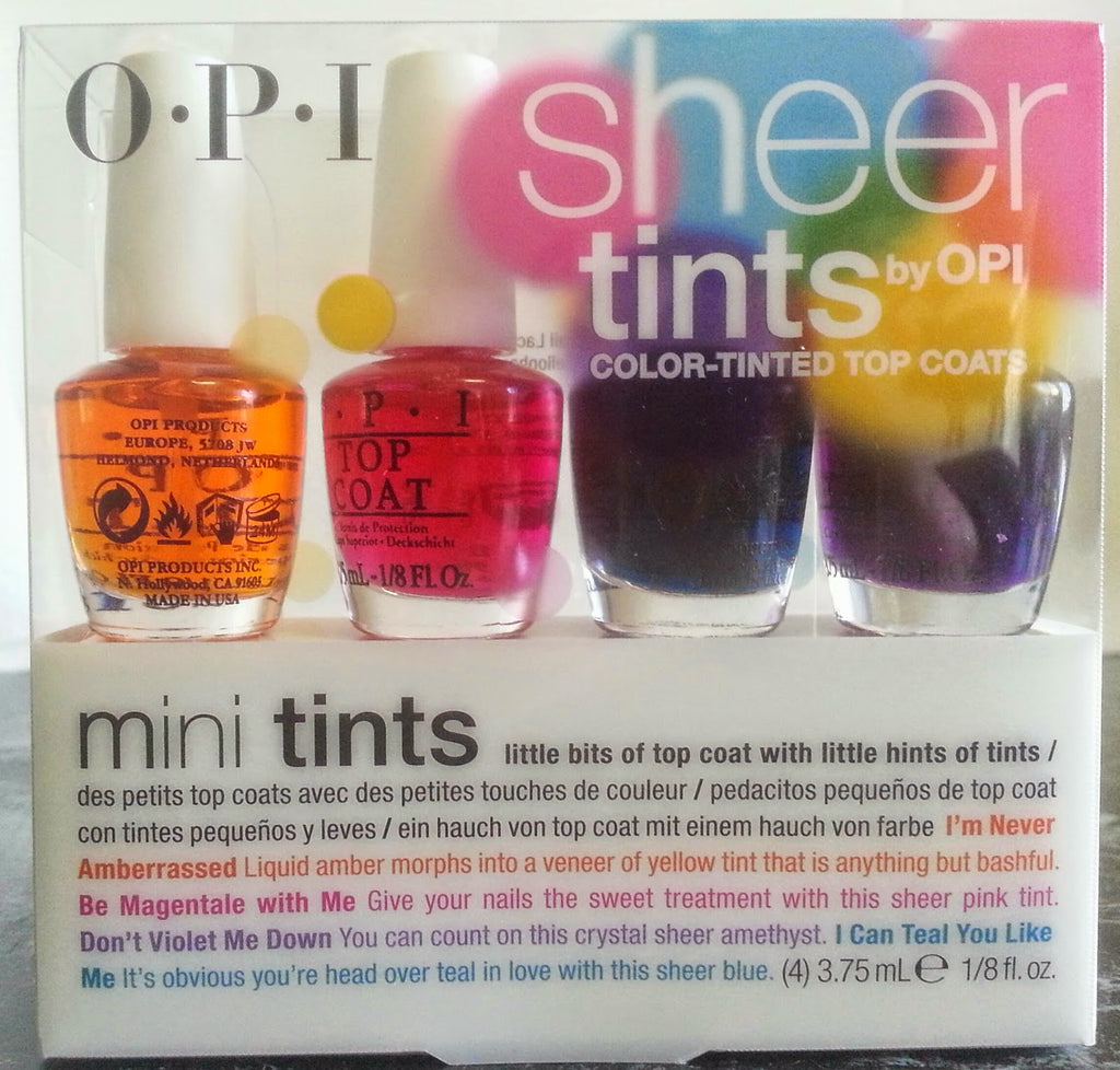 Opi Sheer Tints Color Tinted Top Coat 4pc Mini Kit Nl2