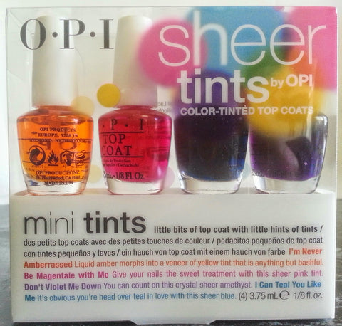 OPI SHEER TINTS - Color Tinted Top Coat 4pc Mini Kit NL2