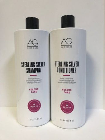 AG HAIR STERLING SILVER TONING SHAMPOO & CONDITIONER - 33.8oz LITER DUO