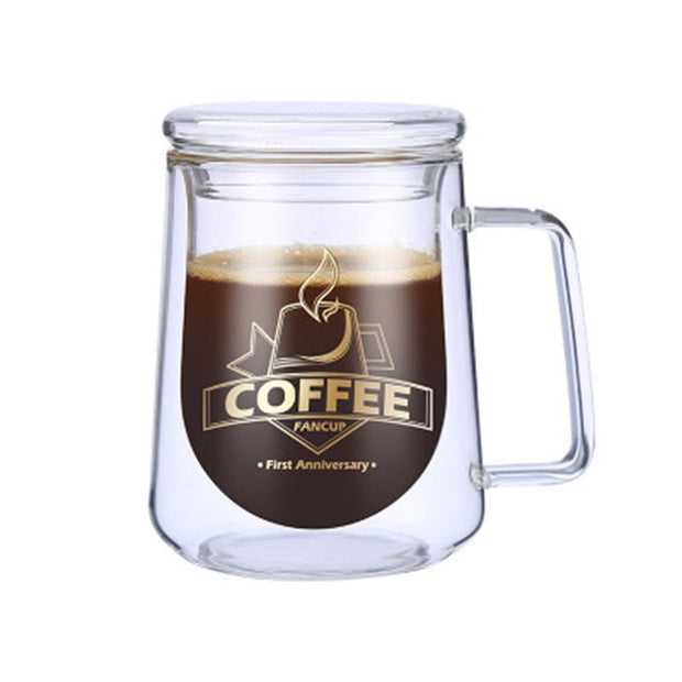 Double Wall Glass Mug For Coffee and Tea