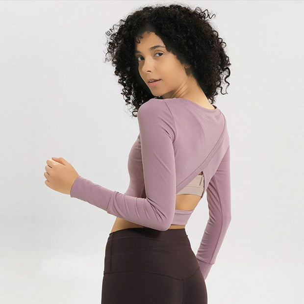 Slim Fit O-neck Yoga Top