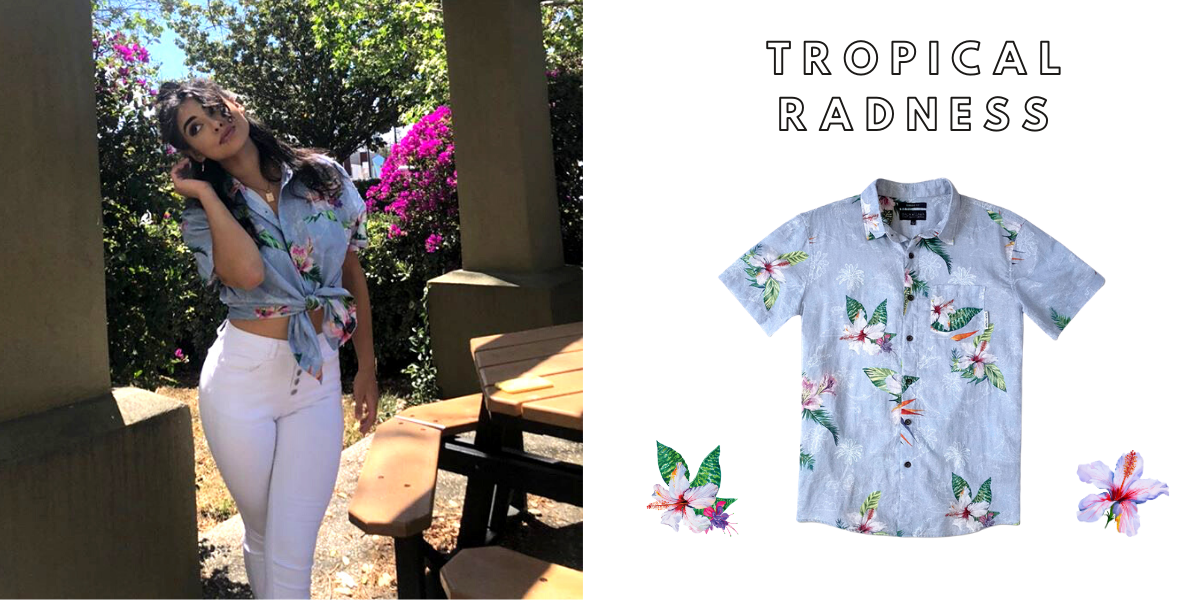 tropical radness hawaiian shirt button up