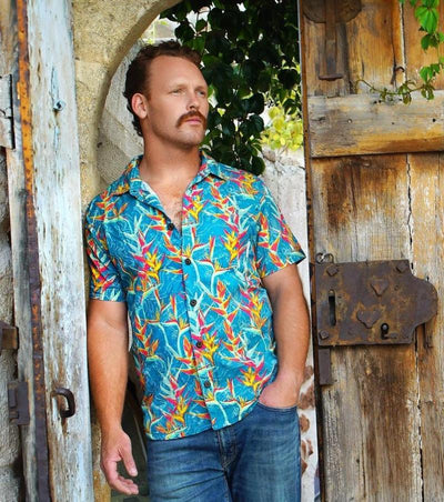Baja Llama octopus n' paradise teal Hawaiian button up shirt