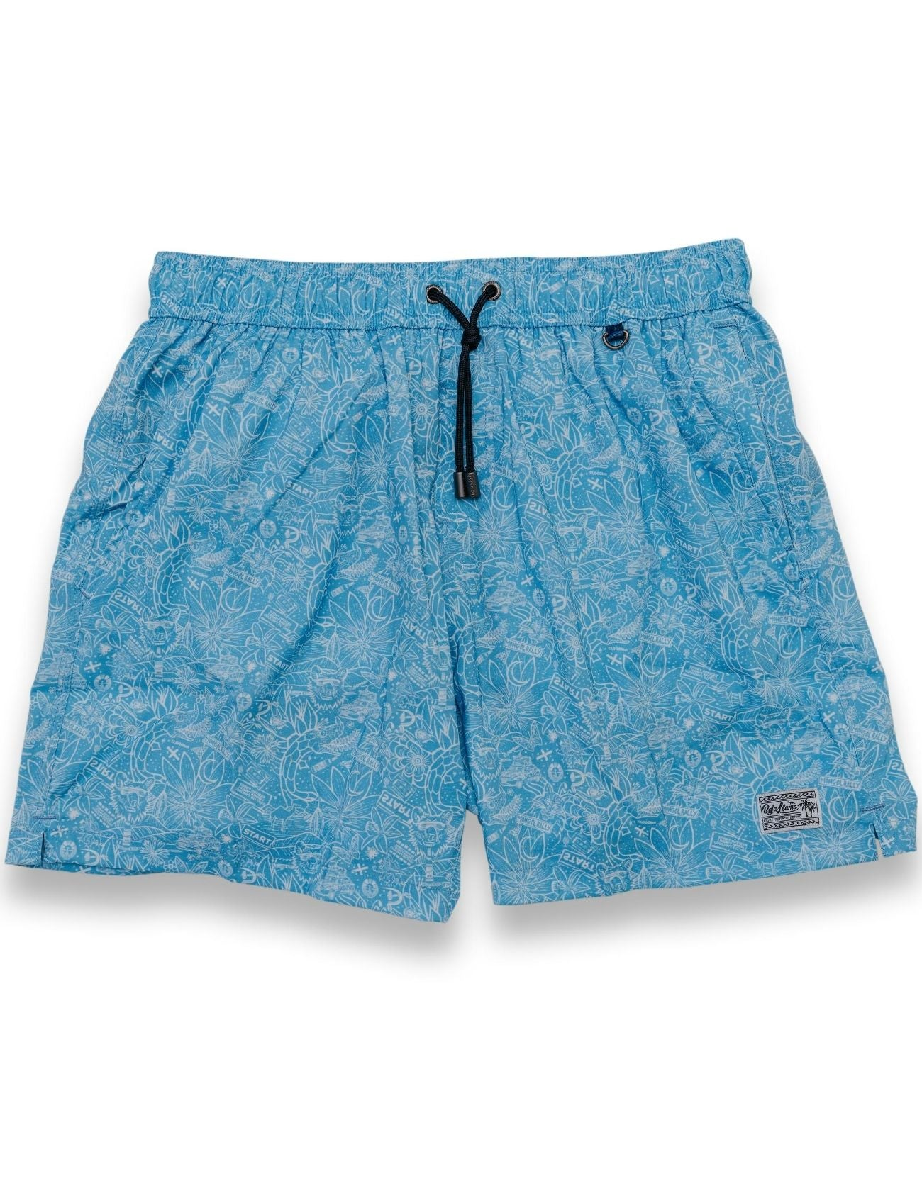 Baja Llama Mongol Rally Neptune Swimmers Light Blue Swim Trunks