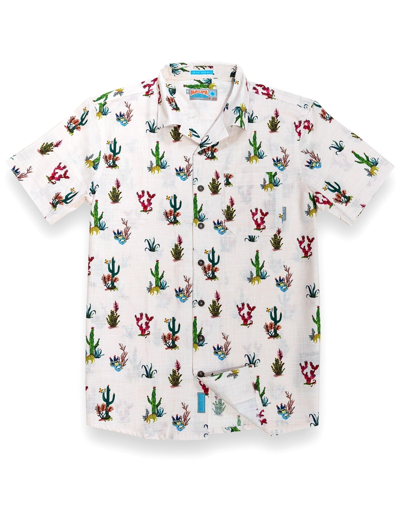 Baja Llama Prickly Sunset Short Sleeve Button Up Light Pink Cactus Shirt