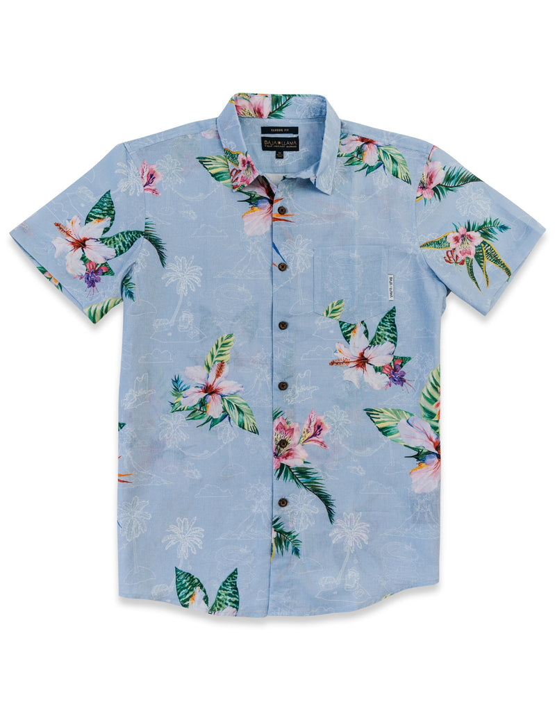 Tropical Radness Day Linen Button Up