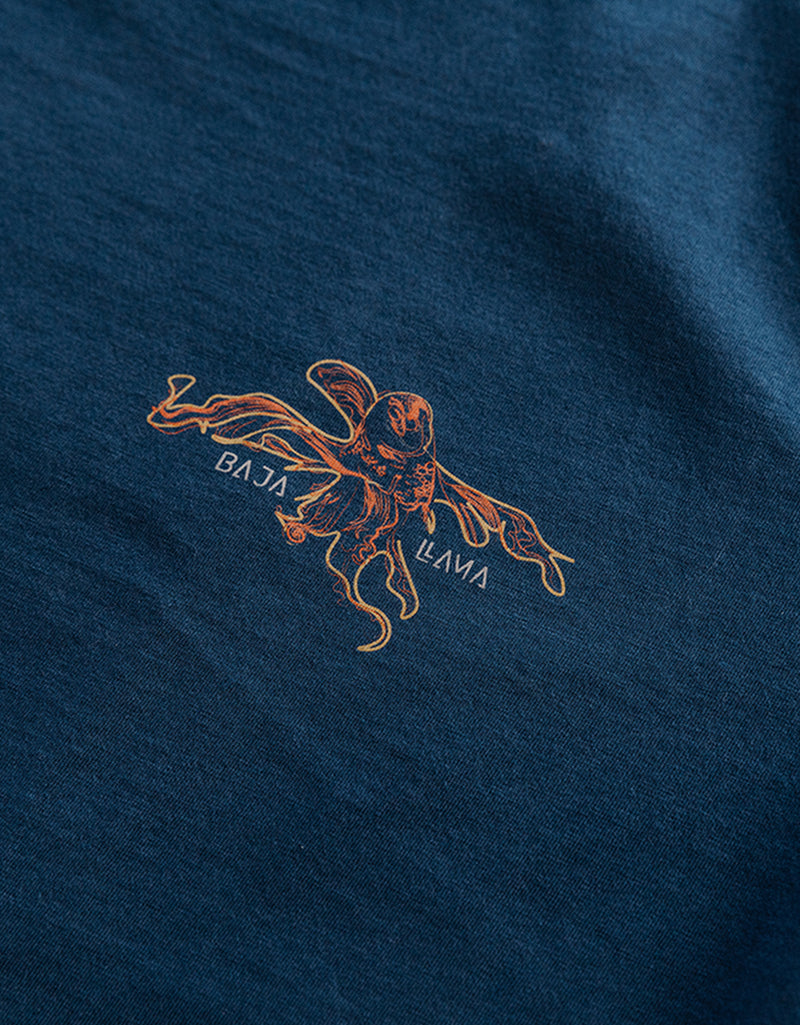 Baja Llama Octopus and diver blue cotton shirt