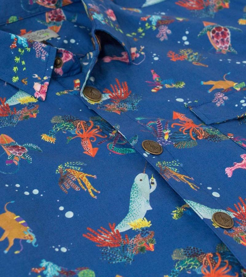 Baja Llama narwhal underwater party button up shirt