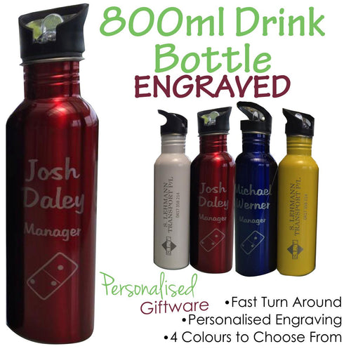 Engraved Aluminium Drink Bottle 800ml