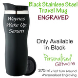 Personalised Black Stainless Steel Travel Mug