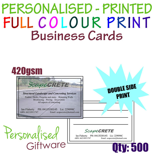 500 x Personalised Business Cards Custom Full Colour Print Double Side 420gsm