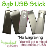 8Gb USB Stick Non Engrave, Various Shape/Colour