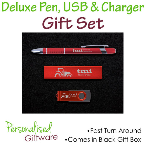 Personalised Deluxe Pen, Usb and Charger Gift Set