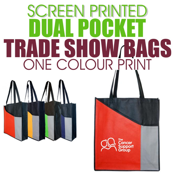 Screen Printed Dual Pocket Trade Show Bags - ONE COLOUR (Minimum QTY 50)