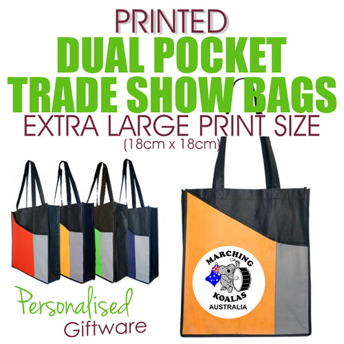 Full Colour Printed Dual Pocket Trade Show Bags - EXTRA LARGE SIZED PRINT