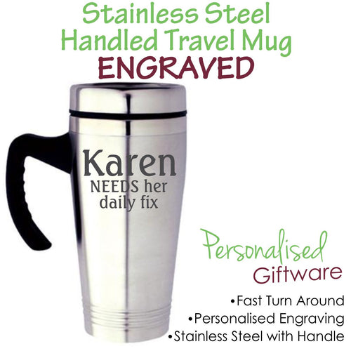 Personalised Stainless Steel Travel Mug with Handle