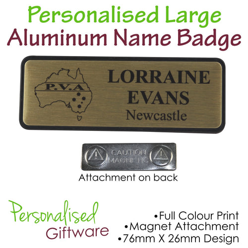 Personalised LARGE ALUMINUM PLATED Name Badge - MAGNETIC Backing