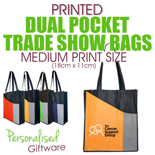 Full Colour Printed Dual Pocket Trade Show Bags - MEDIUM SIZED PRINT