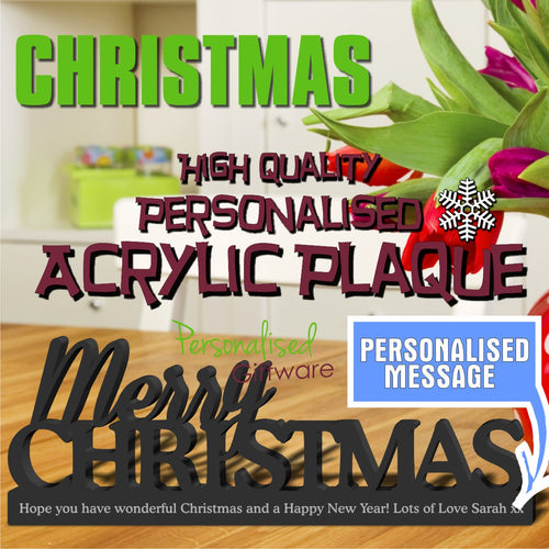 "High Gloss ""Merry Christmas"" Personalised Acrylic Plaque"