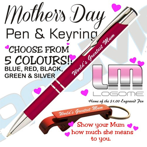 Mother's Day Engraved Pen and Keyring Set