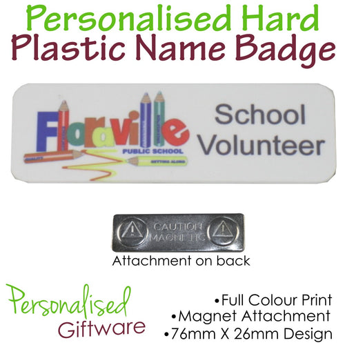 Personalised HARD PLASTIC Name Badge - MAGNETIC Backing