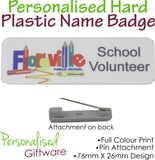 Personalised HARD PLASTIC Name Badge - PIN Backing