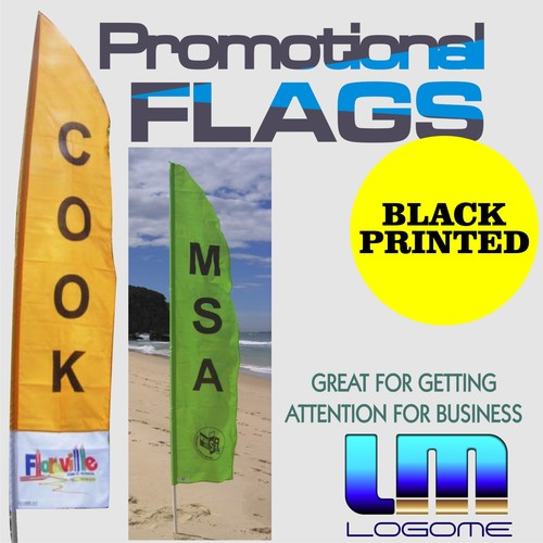 Printed Promotional Flags - Black Print No Kit
