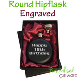 Engraved Round Hipflask in Red Silk lined Giftbox