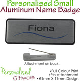Personalised SMALL ALUMINUM PLATED Name Badge - PIN Backing