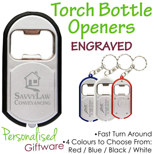 Engraved Torch Bottle Opener Keyring