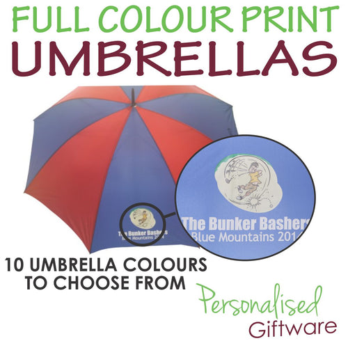 Full Colour Printed Umbrellas - 2 Panel Print