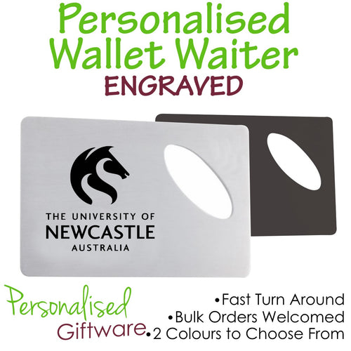 Engraved Stainless Steel Wallet Waiter Opener