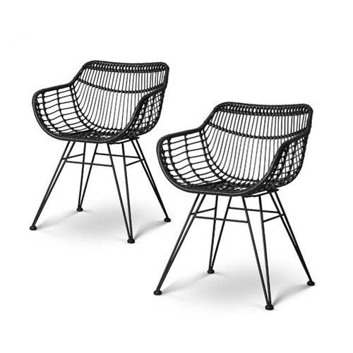 Rattan Dining Chair Black - Set of 2