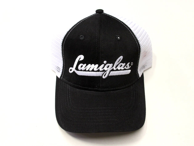 Mesh Hat Black w/ White Logo UNISEX - One Size Fits All LTC-BLK