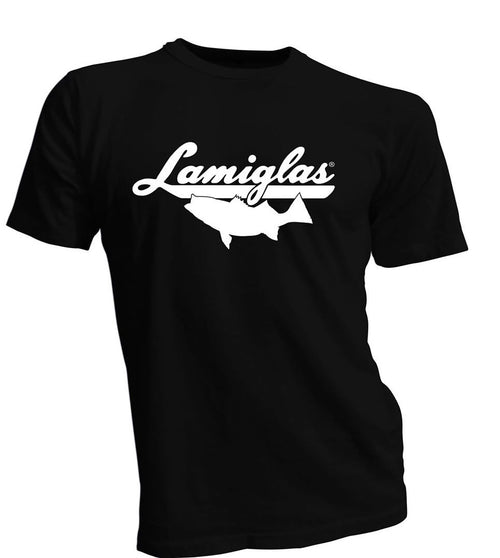 "Lamiglas ""Striper"" Tee-Shirt Black w/ White Logo STRT Striped Bass Clothing"