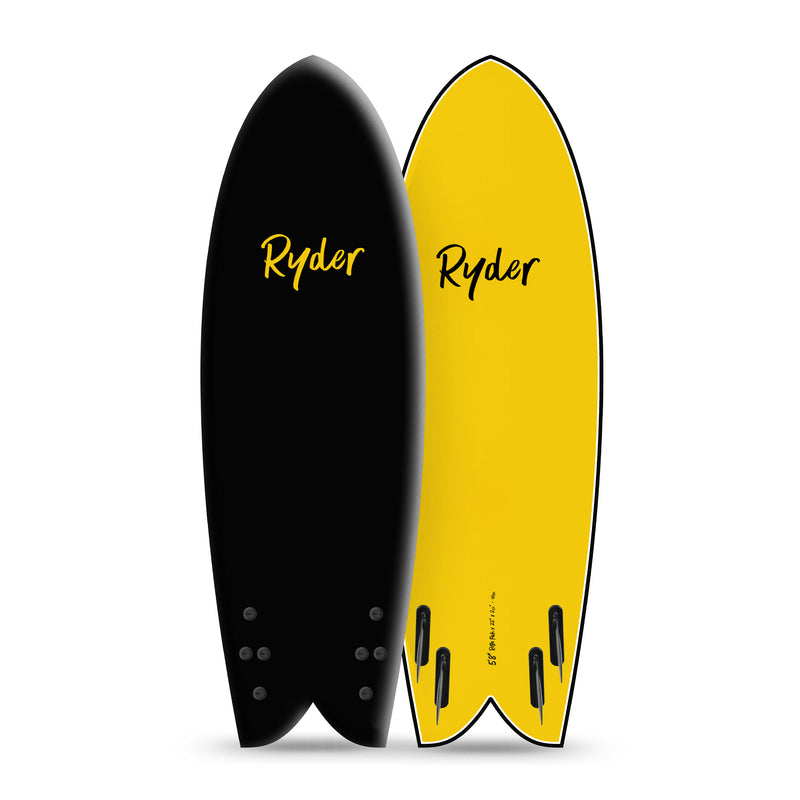 RETRO Quad Fish Series | 5ft8in - Black - Ryder Boards