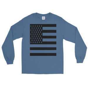 Black American Flag Long Sleeve T-Shirt