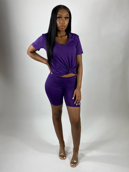 Pretty Chill | V Neck Set (Purple)