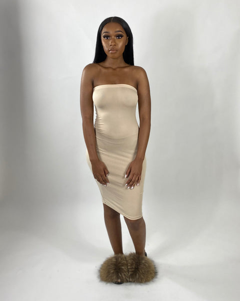 Sassy | Tube Dress (Khaki)